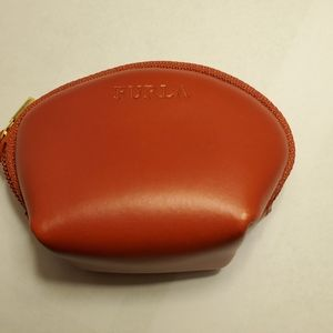 FURLA Red Leather Zip Around Pouch Makeup Cosmetic